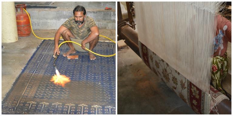 Fabrique de tissage de tapis en Inde